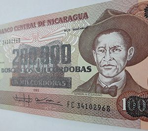 Very beautiful Nicaraguan foreign banknote nh