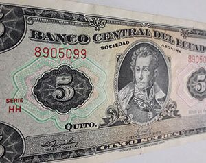 Ecuador's foreign currency banknotes are very beautiful and rarevff j