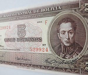Foreign currency of Bolivia, a very beautiful and rare design from 1945 mj