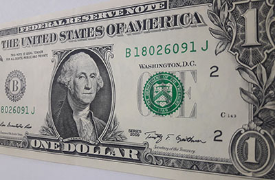 US $ 1 banknote in 2009 fgt