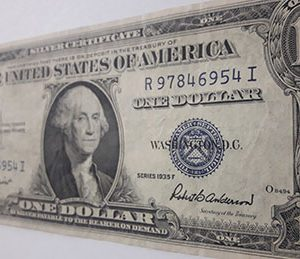 The $ 193 Blue One Dollar Banknote is very rare and collectible nh6
