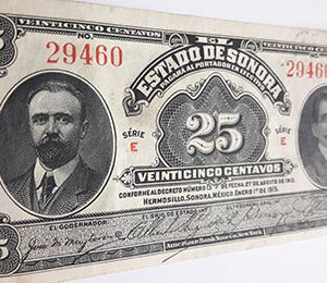 Mexican foreign currency banknote is a very rare and beautiful design of 1915 n