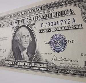 Extremely rare one-dollar foreign currency banknote from the United States in 1957-tbp