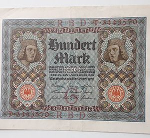 Foreign banknote of the rare design of Germany in 1920-bql