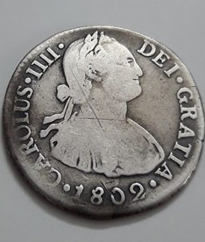 Extremely rare and valuable foreign silver coin of the Spanish colony of 1802-nmp