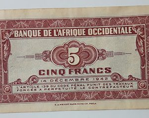 Extremely rare foreign currency of West Africa, France, 1942-uxi