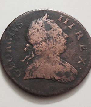 The extremely rare and valuable British half-penny foreign coin of King George III of 1773-zeh