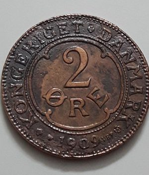 Extremely rare and valuable foreign coin of Denmark, unit 2, less seen in Iran, 1909-ddi