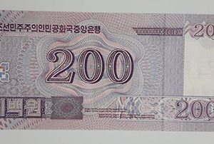 Foreign banknote of the beautiful design of North Korea in 2008-wfw