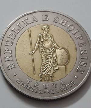 Beautiful and rare two-metal foreign coin from Albania in 2000-lsi