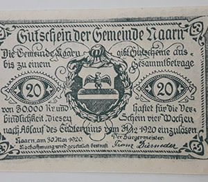 Foreign banknote of the beautiful design of Net Gold in Germany in 1920-lyl