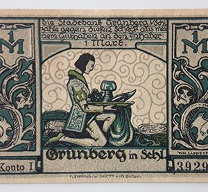 Foreign banknote of the beautiful design of Net Gold in Germany (100 years old)-too