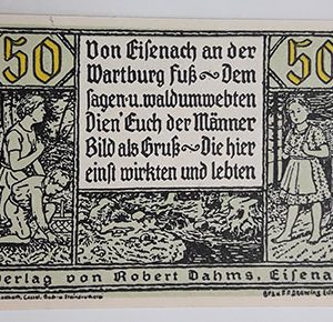 Foreign banknote of the beautiful design of Net Gold in Germany (100 years old)-cuc