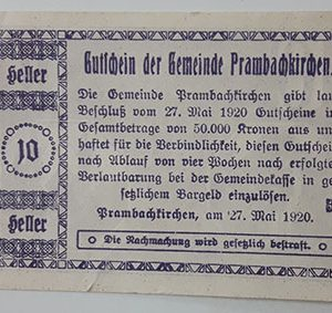 Foreign banknote of the beautiful design of Net Gold in Germany in 1920-dud