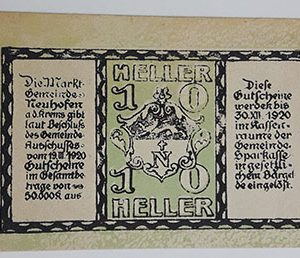 Foreign banknote of the beautiful design of Net Gold in Germany in 1920-bib