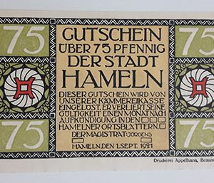 Foreign banknote of the beautiful design of Net Gold of Germany in 1921-kbk