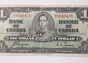 One dollar banknote from Canada, the colony of King George VI, extremely rare and valuable, unique in Iran, 1937-ziz