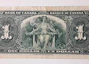 One dollar banknote from Canada, the colony of King George VI, extremely rare and valuable, unique in Iran, 1937-zzi