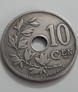 Rare foreign coin of Belgium, unit 10, 1906-lal