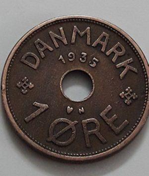 Very rare foreign coin of Denmark, unit 1, 1935-naa