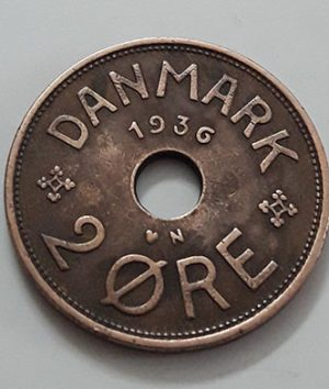 Extremely rare and valuable foreign coin of Denmark in 1936, rarely seen in Iran-waa