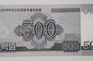 North Korean foreign banknote, beautiful design, 2008-cde