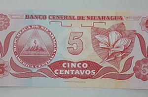 Very beautiful and rare foreign banknote of Nicaragua, Unit 5-xsw