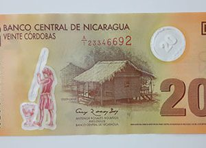 Very beautiful and rare foreign polymer banknote from Nicaragua, Unit 20-tgb