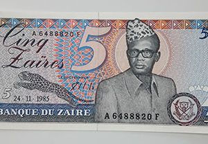 Foreign banknote of the beautiful and rare design of Zaire in 1985-ert