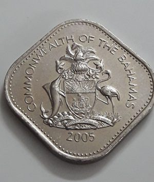 Foreign coin of a very beautiful design of the Bahamas in 2005-ewq