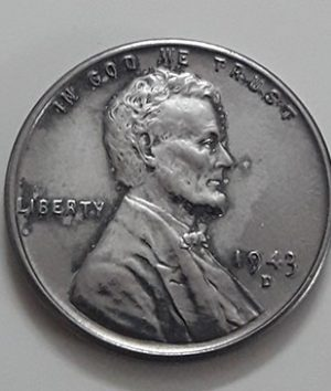 Rare collectible foreign coin of a traditional American steel 1943 D Lincoln image-upp
