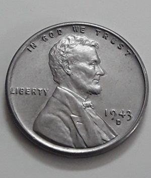Rare collectible foreign coin of a traditional American steel 1943 D Lincoln image-ivv