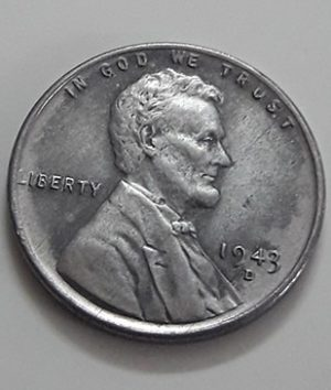 Rare collectible foreign coin of a traditional American steel 1943 D Lincoln image-ibb