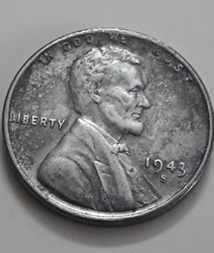 Rare collectible foreign coin of a traditional American steel 1943 S Lincoln image-inn