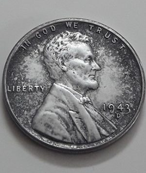 Rare collectible foreign coin of a traditional American steel 1943 D Lincoln image-iss