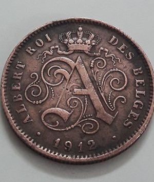 Collectible foreign coin, beautiful and rare design of Belgium, 1912-ucc