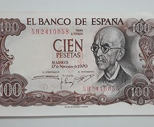 Collectible and beautiful foreign banknotes of Spain in 1970 (bank quality)-eff