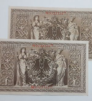 Foreign banknote pair of collectible serial series of Germany, extremely rare and beautiful design, 100 years old (1910)-wqq