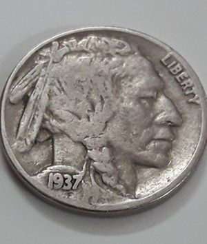 American 5 cents foreign coin known as 1937 Buffalo coin-sum