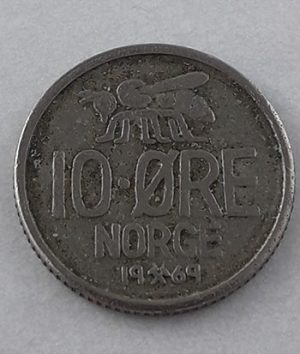 Foreign coin of beautiful and rare design of Norway in 1969-sqq