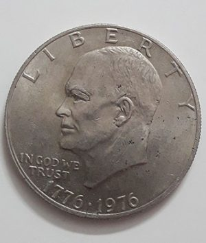 Eisenhower one-dollar commemorative foreign coin from the United States in 1976-vwv