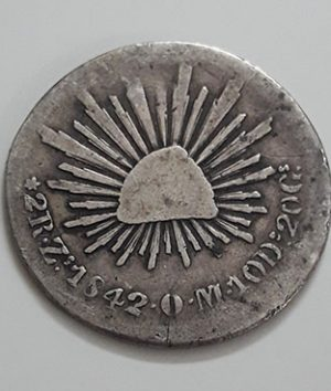 Foreign silver coin A very rare and rare museum of Mexico in 1842 (m)-qxx