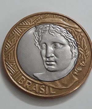 Foreign bimetallic coin of Brazil in 2008-qee
