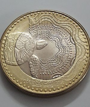 Beautiful and rare two-metal foreign coin from Colombia, 2017 turtle design-roo