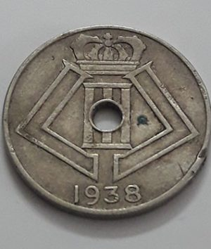 Foreign coin of the beautiful design of Belgium in 1938-tnn