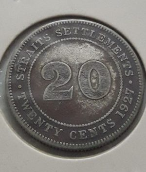 Foreign silver coin of King George V of Malaysia, Unit 20, 1927-ktk