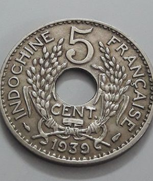 Extremely rare and valuable foreign coin of India and China, colony of France in 1939-hih