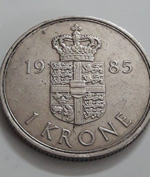 Foreign coin of the beautiful design of Denmark in 1985-plo