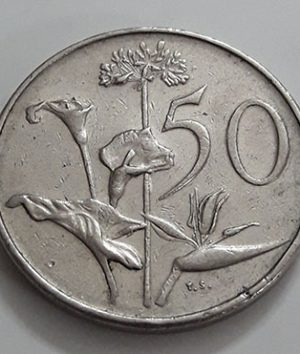 Foreign coin, beautiful and rare design, South Africa, unit 50, large size, 1971-auu