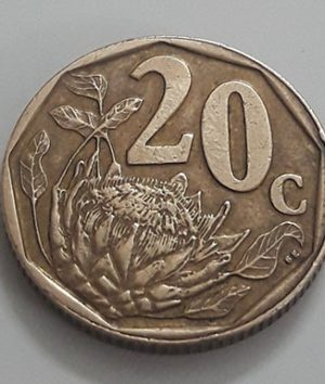 Foreign coin, beautiful flower design of South Africa in 1992-aff